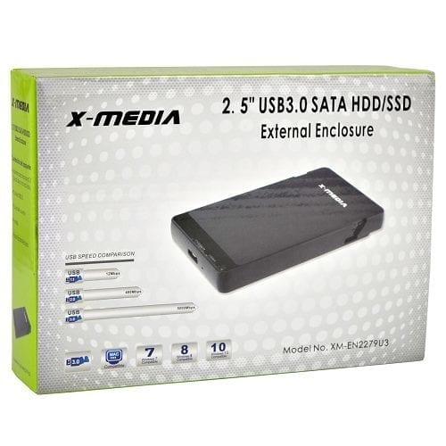 """X-media EN-3400-BK 3.5/"""" USB External IDE//SATA Hard Drive Enclosure Supports 2TB"""